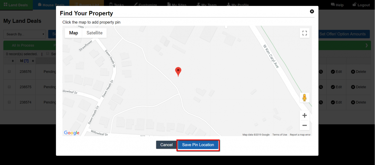 Set Property Location Option (Land)