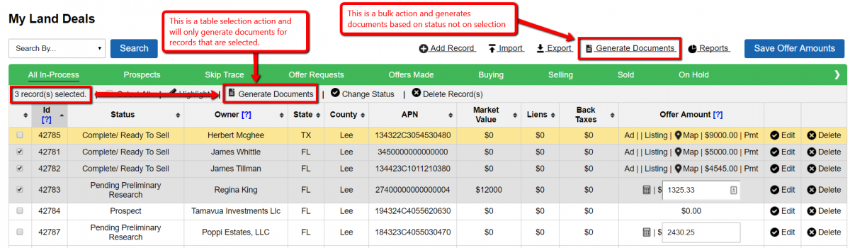 Bulk Actions vs. Select Record Actions