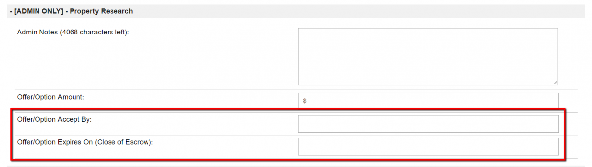 How to change the default Offer, or Option dates
