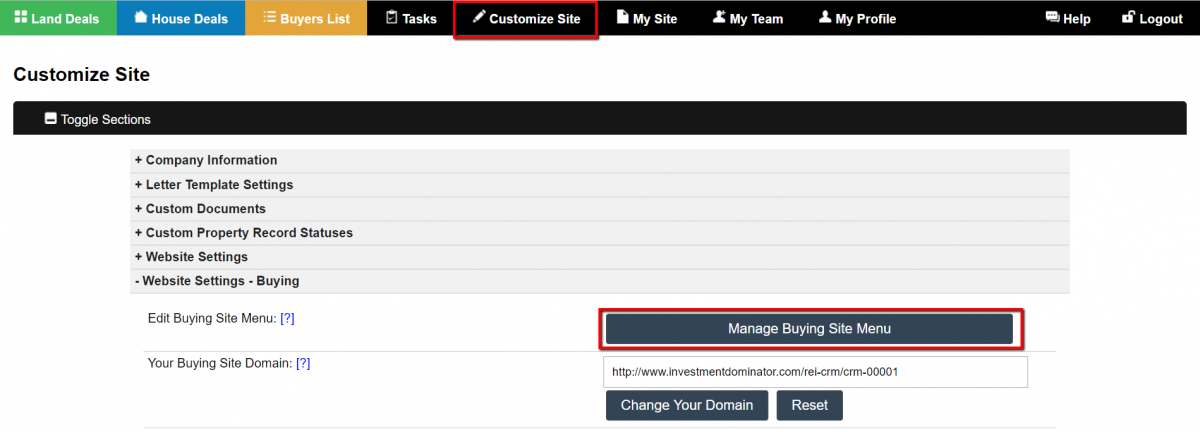 How To Customize The Buying Website Menu
