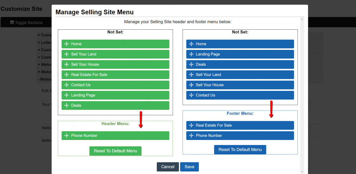 How To Customize The Selling Website Menu
