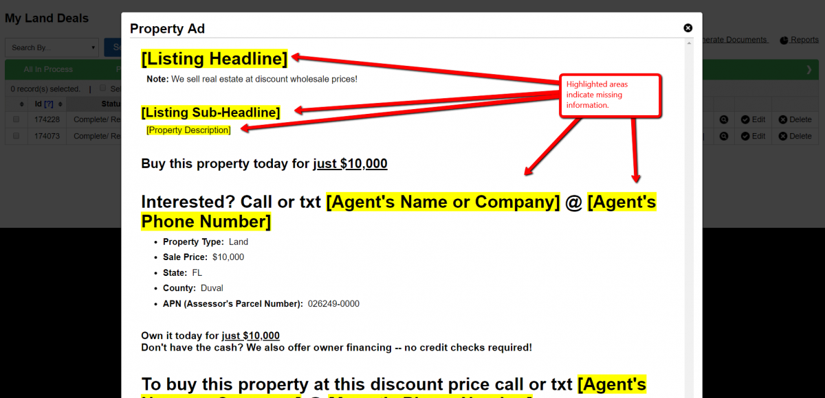 Options> Generate Ad: How To Generate HTML For A Online Classified Site Property Listing