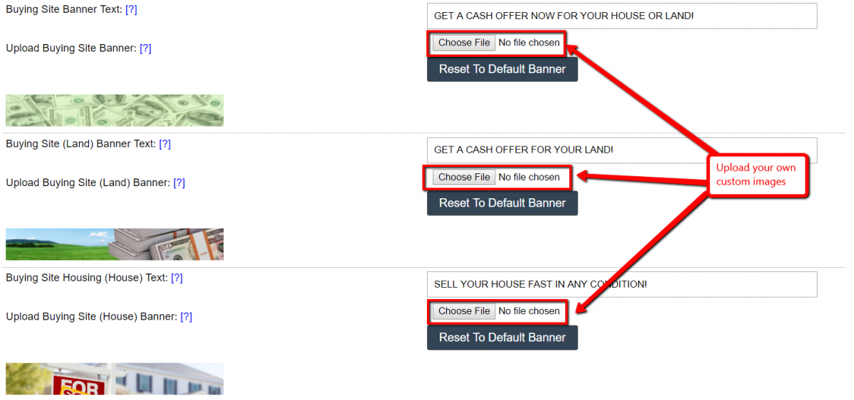 How To Customize The Buying Site Banners