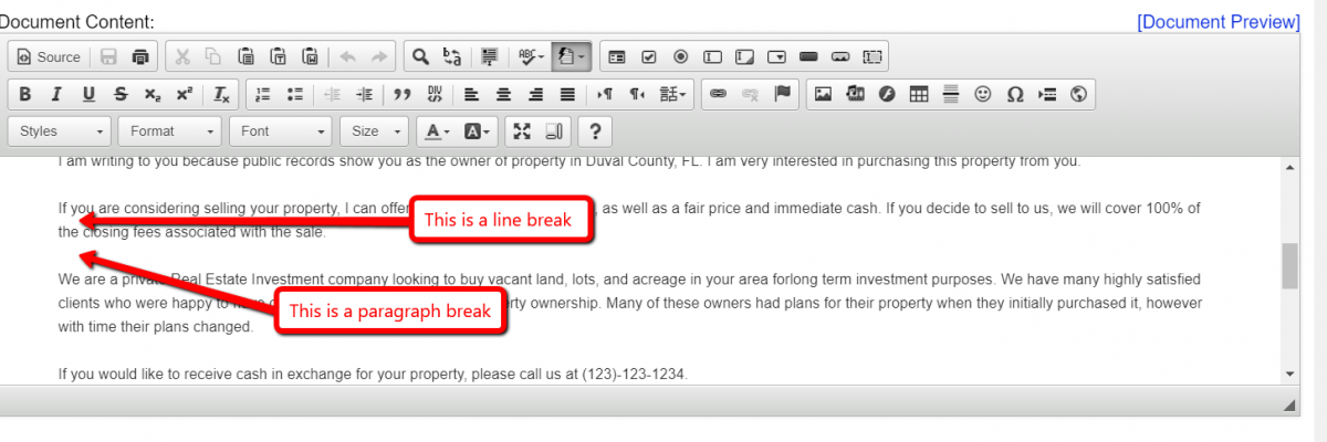 Creating Line Breaks and Paragraph Breaks with The HTML Editor