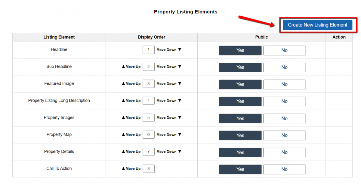 Customize> Website Settings – Selling> Property Listing Elements