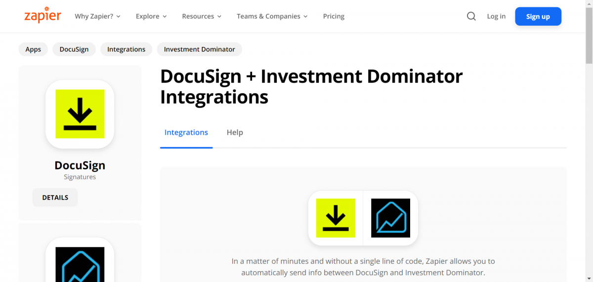 Zapier: How To Connect The Investment Dominator To DocuSign