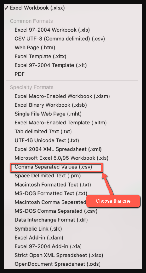 Which CSV format should I select in Excel on a MAC when creating an import file for Investment Dominator?