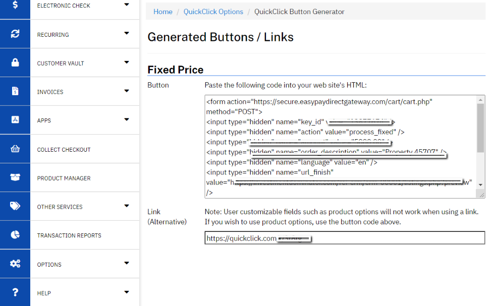 How To Generate A QuickClick Payment Button With EasyPay Direct And Post It On Your Property Listing