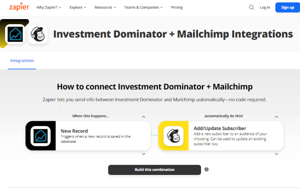 Zapier: How To Connect The Investment Dominator To  Mailchimp